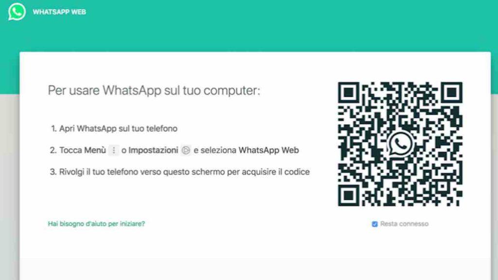 whatsapp web per collegare whatsapp al computer